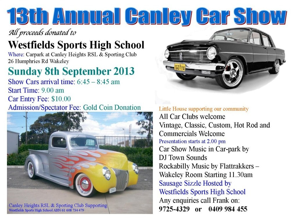13th Annual Canley Car Show This Sunday Westfields Sports High School